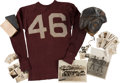 Books:Furniture & Accessories, [Mickey Spillane]. Football Helmet, Jersey and Original TeamPhotographs, Circa 1937-1939....