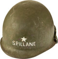 "Books:Furniture & Accessories, [Mickey Spillane]. U.S. Army M1 Helmet and Liner With SingleGeneral's Star and Marked ""SPILLANE.""..."