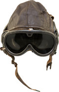 Books:Furniture & Accessories, [Mickey Spillane]. WWII Army Air Force Type A-11 Leather FlyingHelmet and Goggles.... (Total: 3 Items)