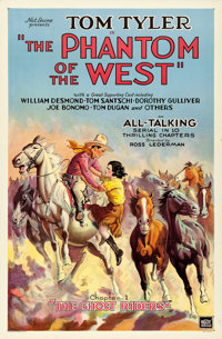 "The Phantom of the West (Mascot, 1931). One Sheet (27"" X 41"") Chapter 1 -- ""The Ghost Riders."""