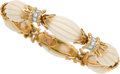 Estate Jewelry:Bracelets, Coral, Diamond, Gold Bracelet, Van Cleef & Arpels, French. ...