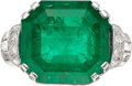 Estate Jewelry:Rings, Colombian Emerald, Diamond, Platinum Ring, French. ...