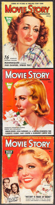 """Movie Story (Fawcett Publications, 1937/1938). Magazines (3) (Multiple Pages, 8.5"""" X 11""""). Miscellaneous..."""