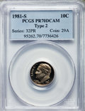 Proof Roosevelt Dimes, 1981-S 10C Type Two PR70 Deep Cameo PCGS. PCGS Population: (138).NGC Census: (74)....