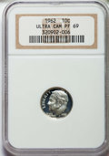 Proof Roosevelt Dimes: , 1962 10C PR69 Ultra Cameo NGC. NGC Census: (70/0). PCGS Population: (62/0)....