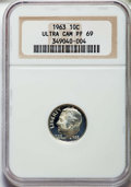 Proof Roosevelt Dimes, 1963 10C PR69 Ultra Cameo NGC. NGC Census: (191/0). PCGSPopulation: (201/0)....