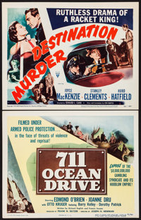 """711 Ocean Drive & Other Lot (Columbia, 1950). Title Lobby Cards (2) (11"""" X 14""""). Film Noir. ... (Total: 2..."""