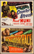 "Movie Posters:War, The Master Race & Other Lot (RKO, 1944). Title Lobby Cards (2)(11"" X 14""). War.. ... (Total: 2 Items)"