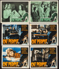 """Movie Posters:Horror, Cat People (RKO, R-1952/R-1957). Lobby Cards (7) (11"""" X 14"""") & Trimmed Lobby Cards (3) (11"""" X 13.5""""). Horror.. ... (Total: 10 Items)"""