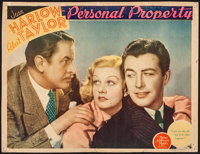 """Personal Property (MGM, 1937). Trimmed Lobby Card (10.5"""" X 13.25""""). Romance"""
