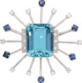 Estate Jewelry:Brooches - Pins, Aquamarine, Diamond, Sapphire, White Gold Brooch. ...