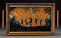 Decorative Arts, Continental, An Art Deco Reverse Painted Glass and Wood Tray: Pan and Nymphs,20th century. 11-1/4 inches high x 19-1/2 inches wide (28.6...