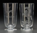 Art Glass:Steuben, Two Steuben Clear and Wheel-Cut Glass Vases with Pegasus andAntelope Motifs designed by Sidney Waugh, Corning, New York, fi...(Total: 2 Items)
