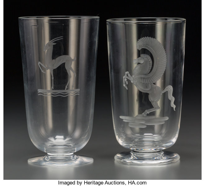 75c075315018 Two Steuben Clear and Wheel-Cut Glass Vases with Pegasus