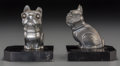Decorative Arts, Continental, A Pair of Art Deco Metal and Marble French Bulldog Bookends, afterHippolyte Moreau, 20th century. 4 inches high (10.2 cm). ...(Total: 2 Items)