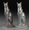 Decorative Arts, Continental, A Pair of Cast Metal Cat Bookends, 20th century. 7-5/8 inches high(19.4 cm). ... (Total: 2 Items)