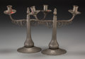 Decorative Arts, Continental, A Pair of Serge Nekrassoff Art Deco Pewter Two-Light Candelabra,circa 1925. Marks: Nekrassoff. 10-1/2 inches high (26.7...(Total: 2 Items)