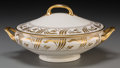 Ceramics & Porcelain, British:Modern  (1900 1949)  , An English Partial Gilt Porcelain Tureen, 20th century. Marks:Circle, MILL ST., STOKE-ON-TRENT, MADE IN ENGLAND. 4-3/4 ...