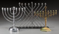 Paintings, Three Brass, Chrome and Iron Nine-Light Menorahs, 20th century. 11 inches high x 14 inches wide (27.9 x 35.6 cm) (largest). ... (Total: 3 Items)