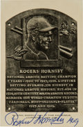 Baseball Collectibles:Others, 1950's Rogers Hornsby Signed Hall of Fame Plaque Postcard, PSA/DNAMint 9. ...