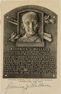 "Baseball Collectibles:Others, 1950's Roderick ""Bobby"" Wallace Signed Black & White Hall ofFame Plaque. ..."