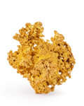 Minerals:Golds, Gold Nugget. Australia. 1.48 x 1.26 x 0.31 inches (3.76 x 3.19 x 0.78 cm). ...