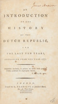 Books:Americana & American History, [James Madison]. [James Harris, the first Earl of Malmesbury].An Introduction to the History of the Dutch Republic,...