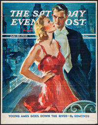 "Saturday Evening Post (Curtis Publishing Co., 1938). News Stand Poster (22"" X 27.75"") ""Young Ames Goes Do..."