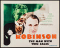 "Movie Posters:Crime, The Man with Two Faces (First National, 1934). Title Lobby Card(11"" X 14""). Crime.. ..."