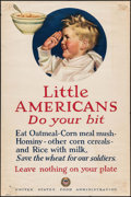 "Movie Posters:War, World War I Propaganda (U.S. Food Administration, 1917). WWI PosterNo. 21 (14"" X 21"") ""Little Americans Do Your Bit."" War...."