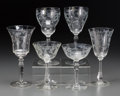 Decorative Arts, Continental, A Group of Fifty-Five Assorted Glass Wine and Champagne Stems withIntaglio Designs, 20th century. 8 inches high (20.3 cm) (...(Total: 55 Items)