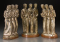 Decorative Arts, Continental:Other , Three Art Deco Silver over Copper Figural Groups with AgricultureMotif, 20th century. Marks: KUPUR. 15-5/8 inches high ...(Total: 2 Items)