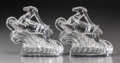 Art Glass:Steuben, A Pair of Steuben Art Deco Molded Glass Antelope Bookends, Corning,New York, 20th century. Marks: Steuben. 6-1/2 inches...(Total: 2 Items)