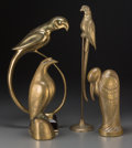 Bronze, Four Brass Birds, in the Style of Alain Chervet, 20th century.19-3/4 inches high (50.2 cm) (tallest). ... (Total: 4 Items)