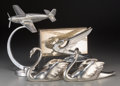 Decorative Arts, Continental, Five Art Deco Chromed Articles: Swan Pair, Plane, 1934 ChevroletPhoenix Automobile Mascot, Box, 20th century. Marks: (vario...(Total: 5 Items)