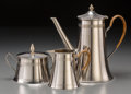 Decorative Arts, Continental, A Three-Piece WMF Chrome Coffee Service, Geislingen, Germany, circa1930. Marks: WMF (logotype), Gr1. 8-1/2 inches h...(Total: 3 Items)
