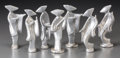 Decorative Arts, Continental, A Group of Twelve Art Deco Asiatic Silvered Metal and PorcelainFigures by repute from the Japanese Pavilion, 1939 New York Wo...(Total: 7 Items)