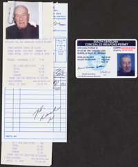 [Mickey Spillane]. Spillane's Concealed Weapons License. Circa 1998-2006