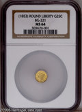 California Fractional Gold: , Undated 25C Liberty Round 25 Cents, BG-221, R.3, MS63 NGC. Pop: (P49/30, N 0/0)....
