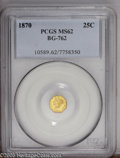 California Fractional Gold: , 1870 25C Liberty Octagonal 25 Cents, BG-762, Low R.4, MS62 PCGS.PCGS Population (34/14). (#10589)...