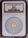 California Fractional Gold: , 1873 25C Liberty Round 25 Cents, BG-817, R.3, MS63 NGC. PCGSPopulation (60/64). (#10678)...