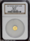 California Fractional Gold: , 1869 25C Liberty Round 25 Cents, BG-829, Low R.5, MS61 NGC. PCGSPopulation (5/13). (#10690)...