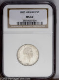 Coins of Hawaii: , 1883 25C Hawaii Quarter MS62 NGC. PCGS Population (131/636). NGCCensus: (64/336). Mintage: 500,000. (#10987)...