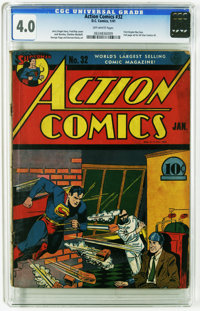 Action Comics #32 (DC, 1941) CGC VG 4.0 Off-white pages. Another great Superman cover from legendary artist Fred Ray. Th...