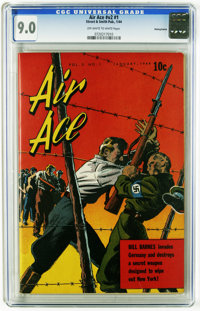 Air Ace V2#1 Pennsylvania pedigree (Street & Smith, 1944) CGC VF/NM 9.0 Off-white to white pages. Nazi concentration...