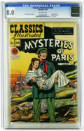 Golden Age (1938-1955):Classics Illustrated, Classics Illustrated #44 Mysteries of Paris - Original Edition(Gilberton, 1947) CGC VF 8.0 Off-white pages. Highest grade y...