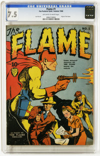 The Flame #1 (Fox, 1940) CGC VF- 7.5 Off-white to white pages. A key Golden Age first issue featuring the origin of the...