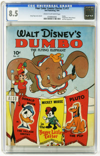 Four Color (Series One) #17 Walt Disney's Dumbo, the Flying Elephant (#1) (Dell, 1941) CGC VF+ 8.5 Cream to off-white pa...