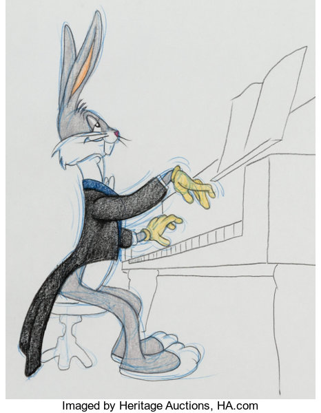Virgil Ross Bugs Bunny At The Piano Illustration Lot 12172