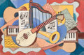 Fine Art - Painting, American:Modern  (1900 1949)  , Louis K. Stone (American, 1902-1984). Musical Still Life,1930. Gouache on board. 12 x 16-1/2 inches (30.5 x 41.9 cm). S...